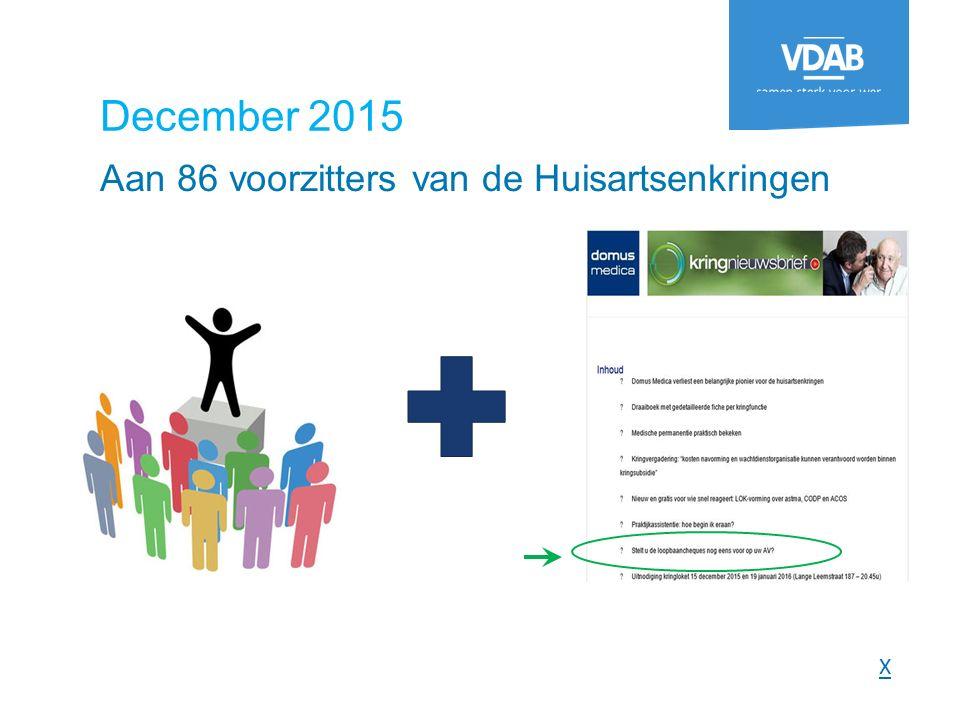 December 2015 Aan 86 voorzitters van de Huisartsenkringen X