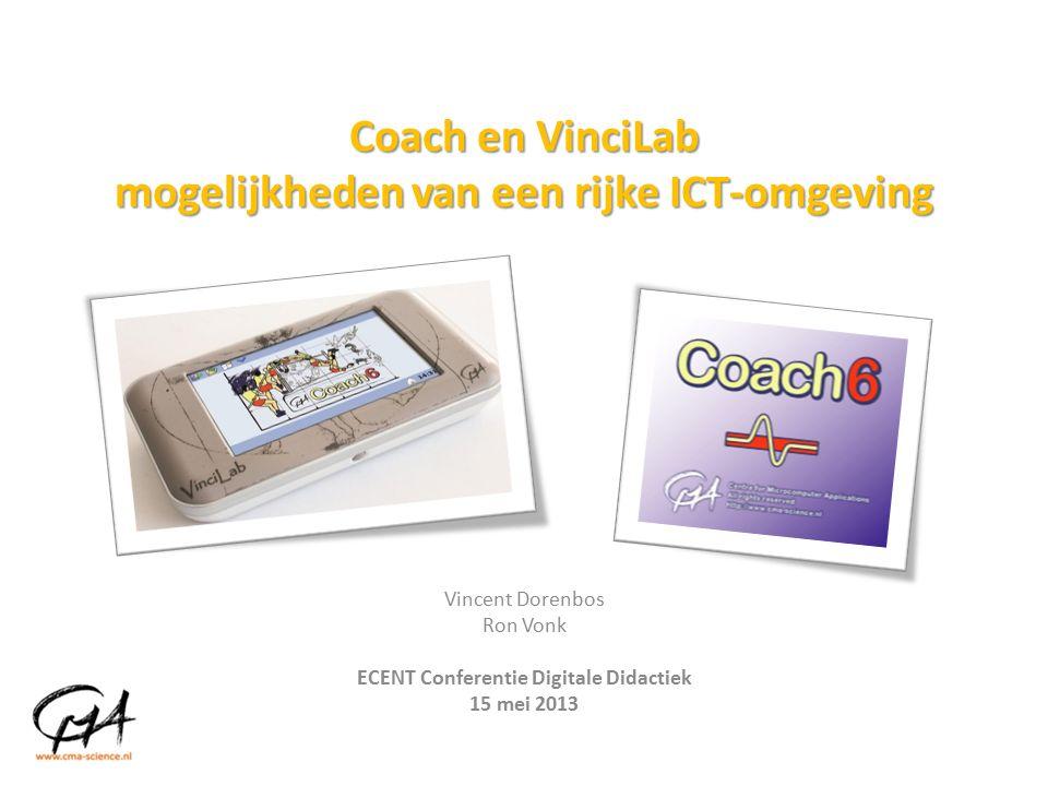 Coach en VinciLab mogelijkheden van een rijke ICT-omgeving Vincent Dorenbos Ron Vonk ECENT Conferentie Digitale Didactiek 15 mei 2013