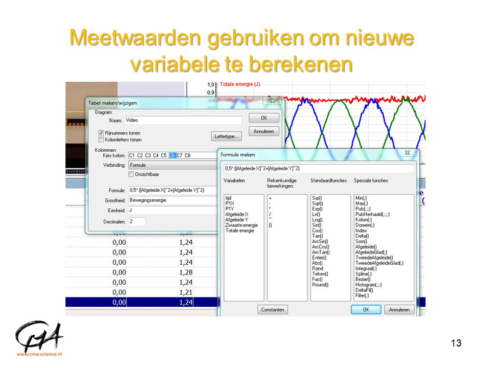 Meetwaarden gebruiken om nieuwe variabele te berekenen 13