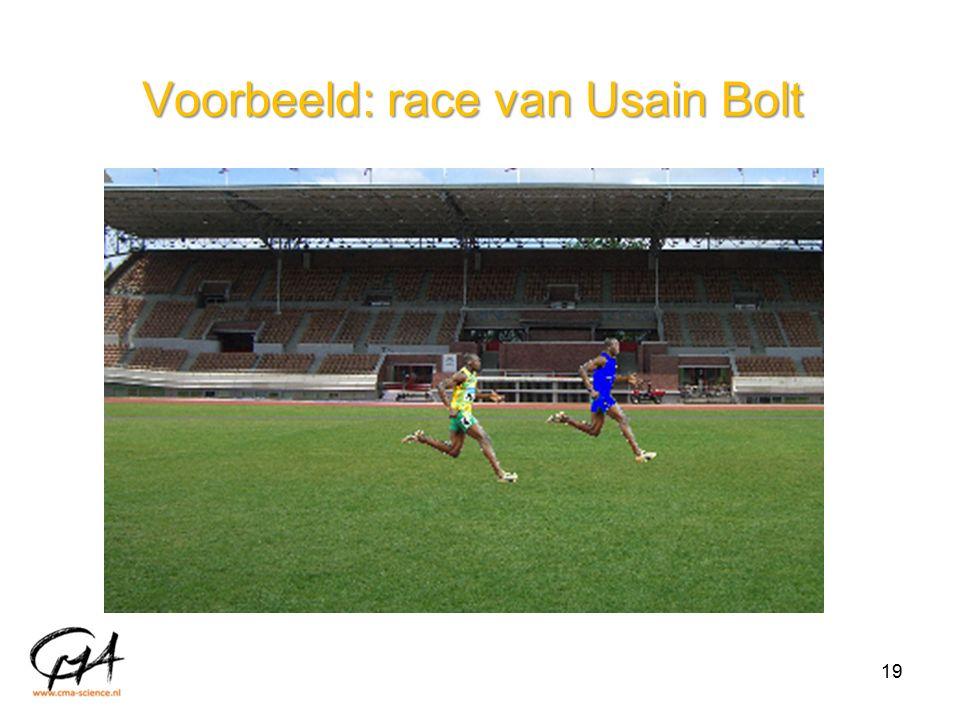 Voorbeeld: race van Usain Bolt 19