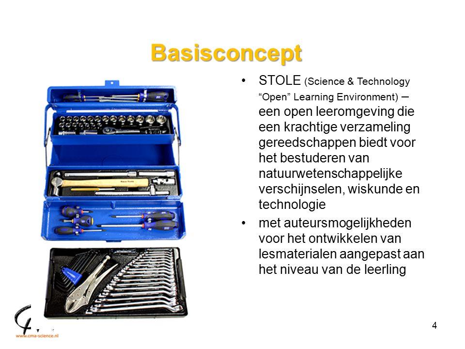Basisconcept STOLE (Science & Technology Open Learning Environment) – een open leeromgeving die een krachtige verzameling gereedschappen biedt voor het bestuderen van natuurwetenschappelijke verschijnselen, wiskunde en technologie met auteursmogelijkheden voor het ontwikkelen van lesmaterialen aangepast aan het niveau van de leerling 4