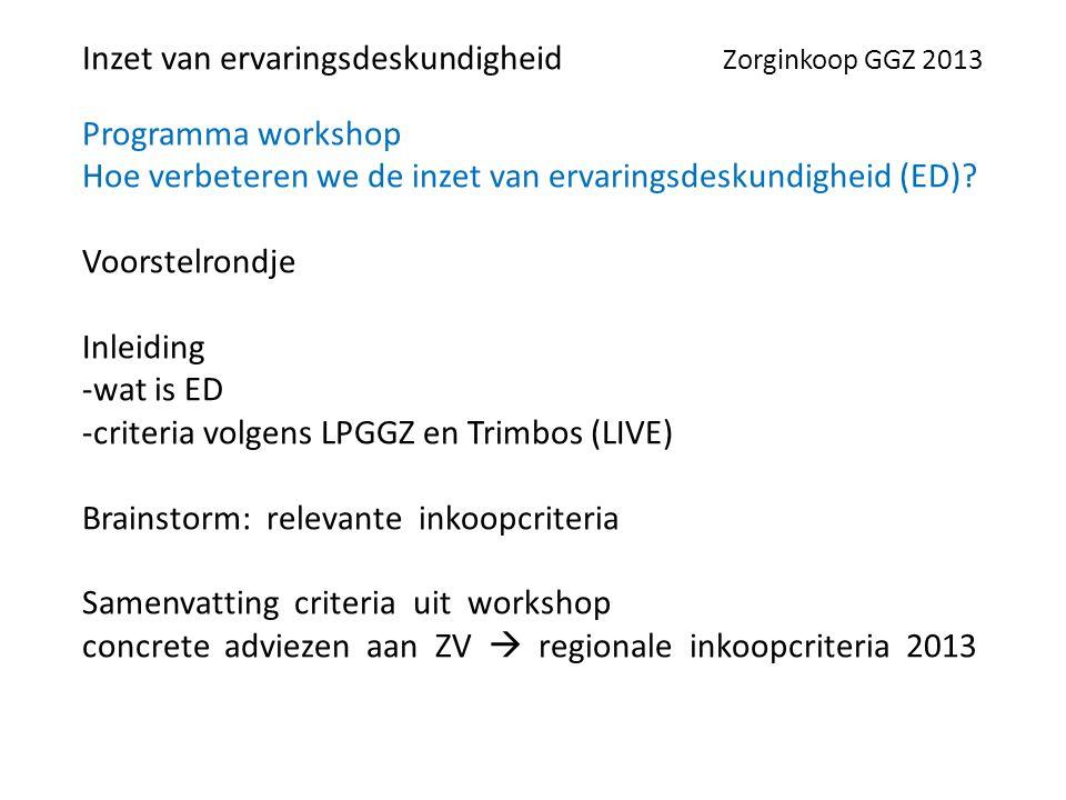 Programma workshop Hoe verbeteren we de inzet van ervaringsdeskundigheid (ED).
