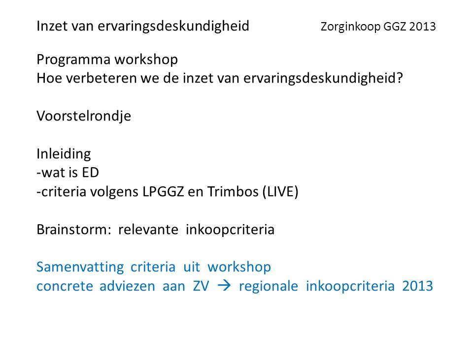 Programma workshop Hoe verbeteren we de inzet van ervaringsdeskundigheid.