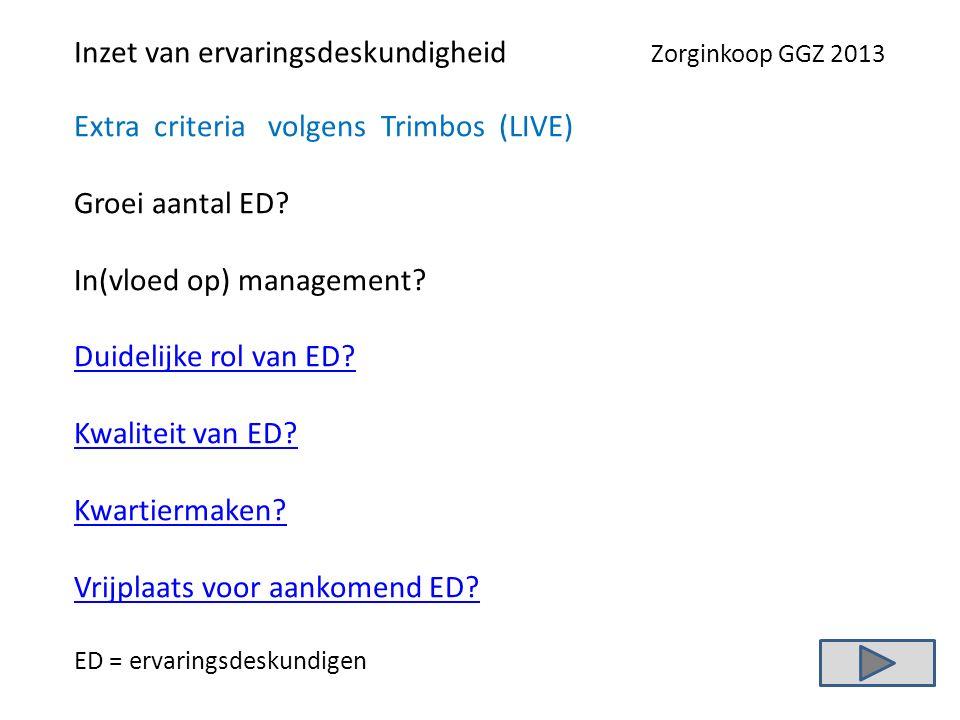 Inzet van ervaringsdeskundigheid Zorginkoop GGZ 2013 Extra criteria volgens Trimbos (LIVE) Groei aantal ED.