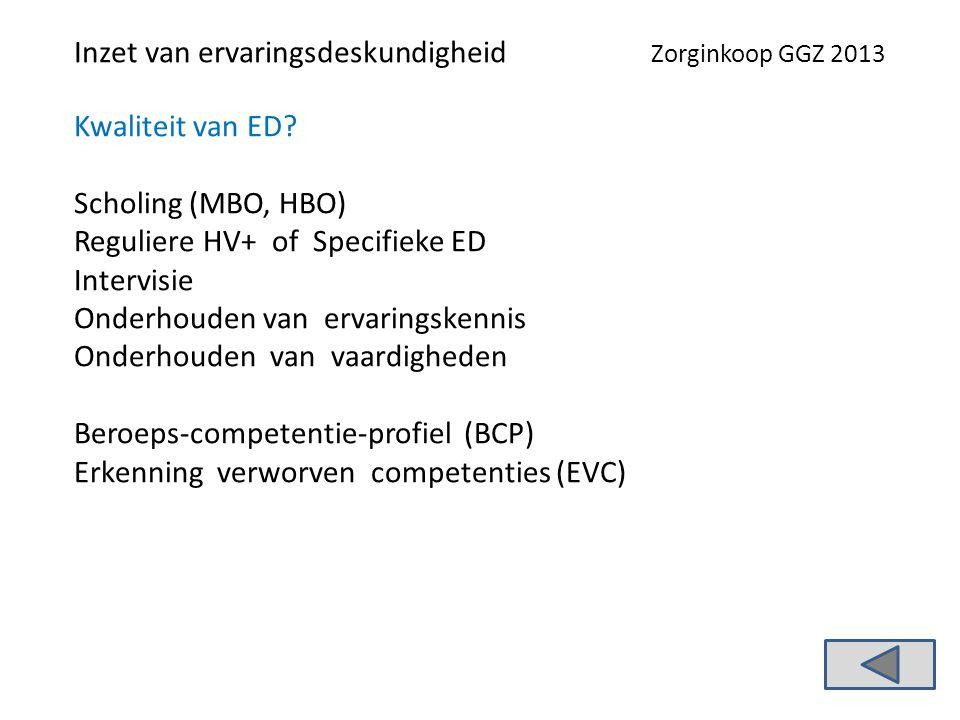 Inzet van ervaringsdeskundigheid Zorginkoop GGZ 2013 Kwaliteit van ED.