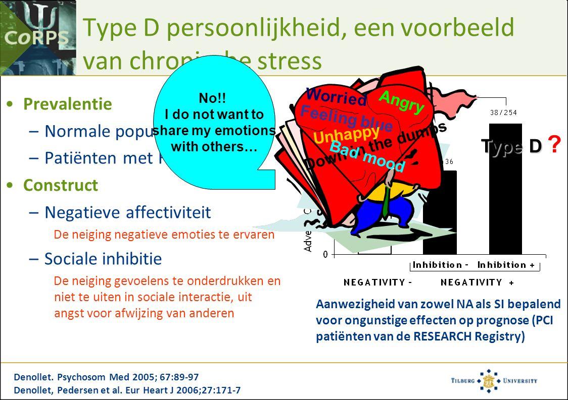 Type D persoonlijkheid, een voorbeeld van chronische stress Prevalentie –Normale populatie: 13-32.5% –Patiënten met HVZ: 26-53% Construct –Negatieve affectiviteit De neiging negatieve emoties te ervaren –Sociale inhibitie De neiging gevoelens te onderdrukken en niet te uiten in sociale interactie, uit angst voor afwijzing van anderen Denollet.