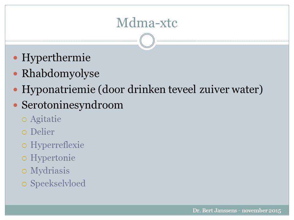 Mdma-xtc Hyperthermie Rhabdomyolyse Hyponatriemie (door drinken teveel zuiver water) Serotoninesyndroom  Agitatie  Delier  Hyperreflexie  Hypertonie  Mydriasis  Speekselvloed Dr.