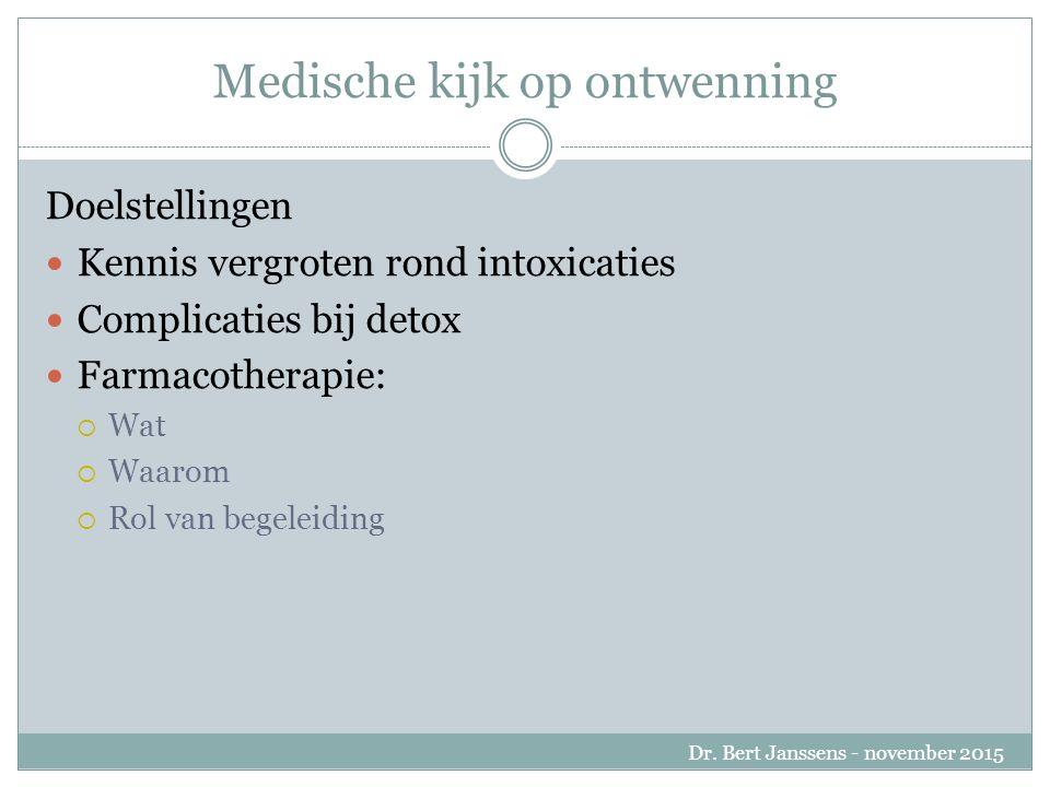 Doelstellingen Kennis vergroten rond intoxicaties Complicaties bij detox Farmacotherapie:  Wat  Waarom  Rol van begeleiding Dr.