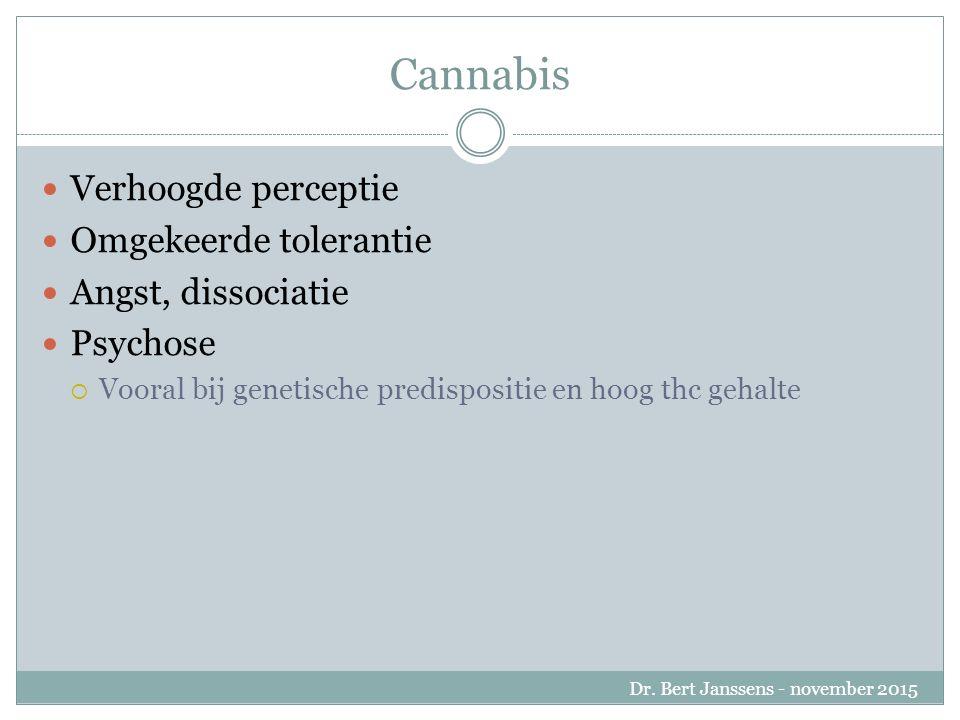 Cannabis Verhoogde perceptie Omgekeerde tolerantie Angst, dissociatie Psychose  Vooral bij genetische predispositie en hoog thc gehalte Dr.