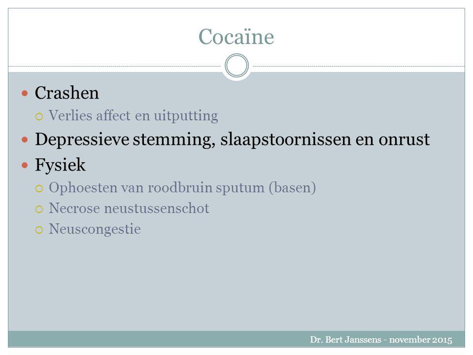 Cocaïne Crashen  Verlies affect en uitputting Depressieve stemming, slaapstoornissen en onrust Fysiek  Ophoesten van roodbruin sputum (basen)  Necrose neustussenschot  Neuscongestie Dr.