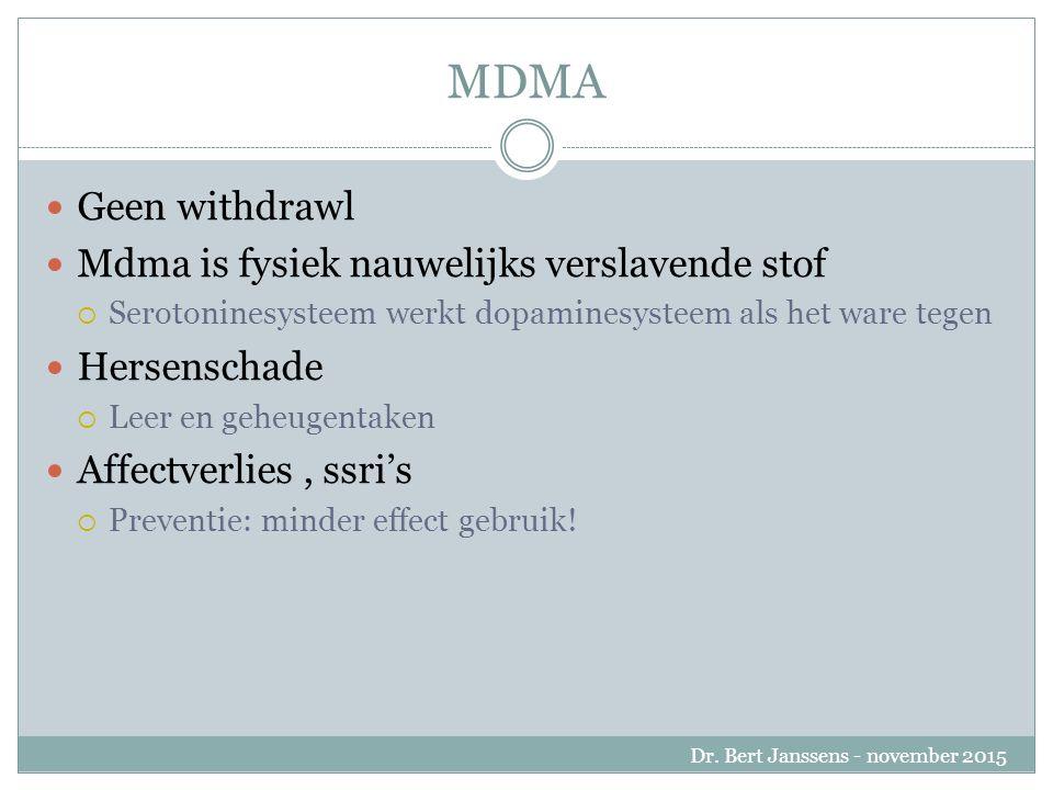 MDMA Geen withdrawl Mdma is fysiek nauwelijks verslavende stof  Serotoninesysteem werkt dopaminesysteem als het ware tegen Hersenschade  Leer en geheugentaken Affectverlies, ssri's  Preventie: minder effect gebruik.