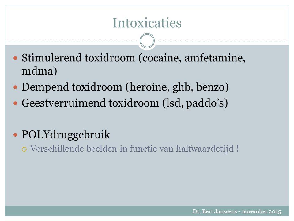 Stimulerend toxidroom Snelle hartslag Agitatie, agressie Hallucinaties, psychose Mydriasis Hypertensie Hyperventilatie Hypertonie Dr.