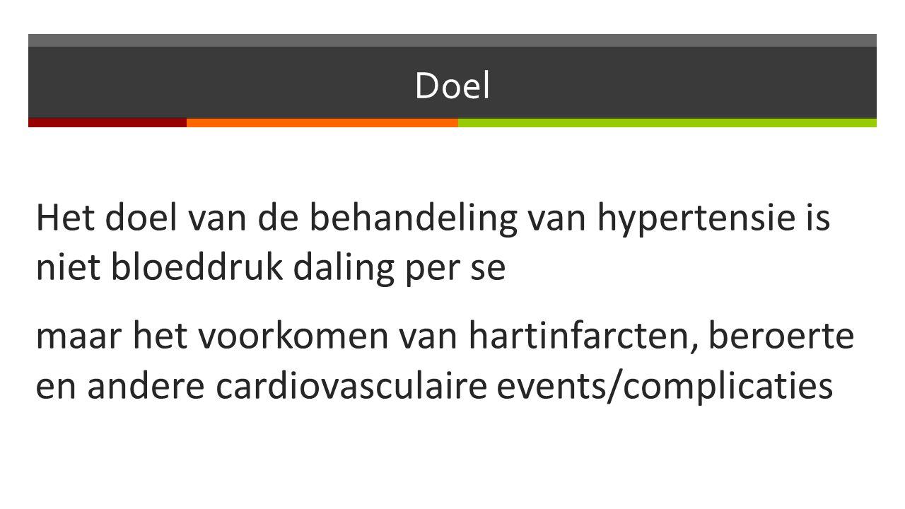 Doel Het doel van de behandeling van hypertensie is niet bloeddruk daling per se maar het voorkomen van hartinfarcten, beroerte en andere cardiovasculaire events/complicaties