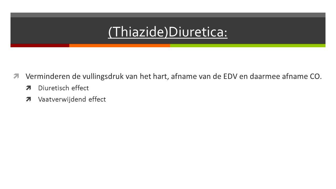 (Thiazide)Diuretica:  Verminderen de vullingsdruk van het hart, afname van de EDV en daarmee afname CO.