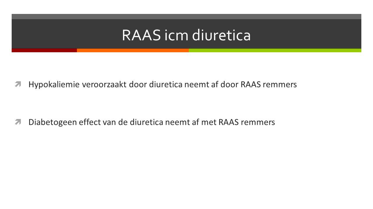  Hypokaliemie veroorzaakt door diuretica neemt af door RAAS remmers  Diabetogeen effect van de diuretica neemt af met RAAS remmers
