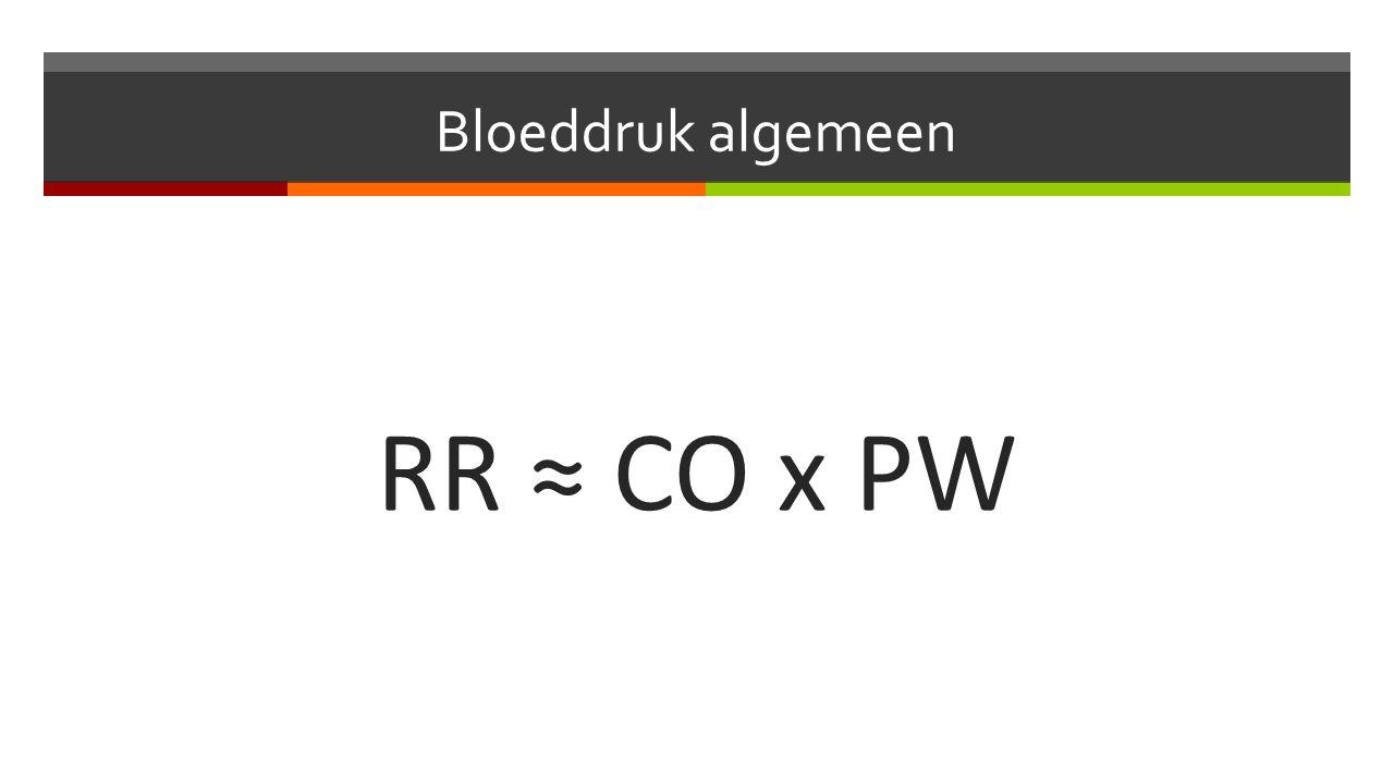 Bloeddruk algemeen RR ≈ CO x PW
