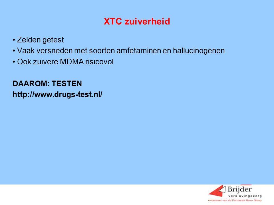 XTC zuiverheid Zelden getest Vaak versneden met soorten amfetaminen en hallucinogenen Ook zuivere MDMA risicovol DAAROM: TESTEN http://www.drugs-test.nl/