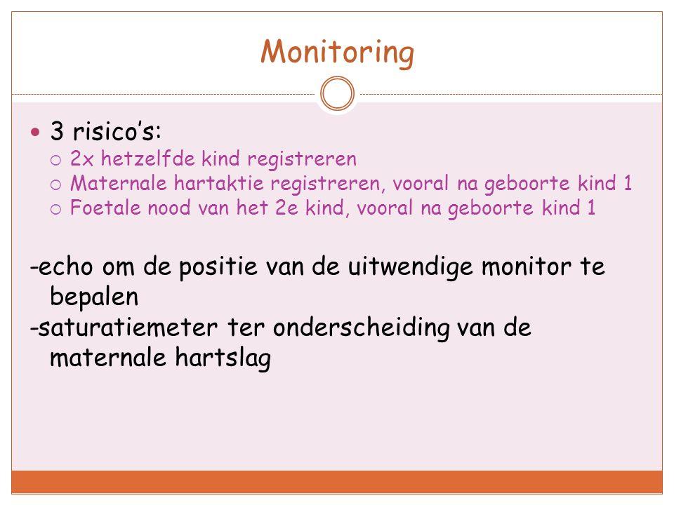 Monitoring 3 risico's:  2x hetzelfde kind registreren  Maternale hartaktie registreren, vooral na geboorte kind 1  Foetale nood van het 2e kind, vo