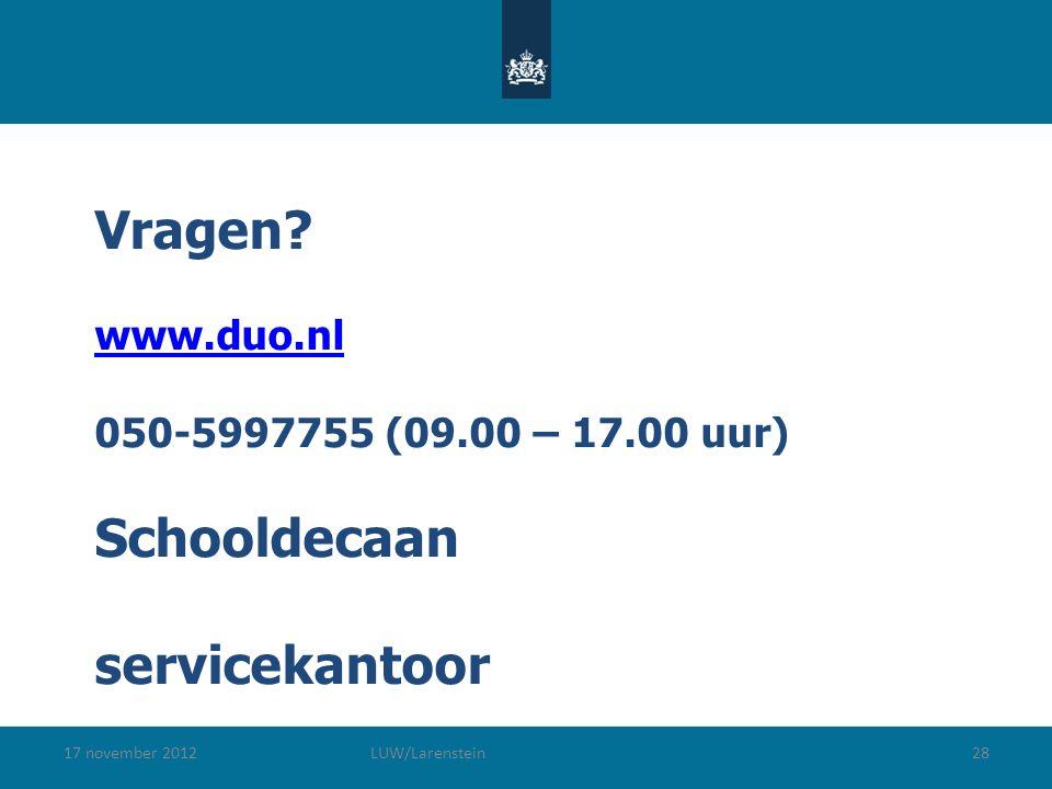 17 november 2012LUW/Larenstein28 Vragen.