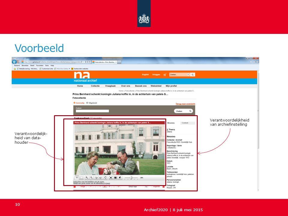 Voorbeeld Archief2020 | 8 juli mei 2015 10 Verantwoordelijk- heid van data- houder Verantwoordelijkheid van archiefinstelling