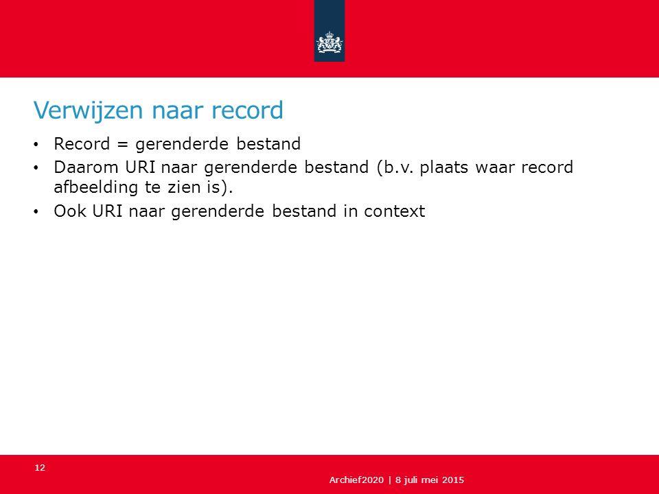 Verwijzen naar record Record = gerenderde bestand Daarom URI naar gerenderde bestand (b.v.