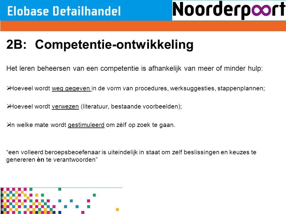 2B:Competentie-ontwikkeling Het leren beheersen van een competentie is afhankelijk van meer of minder hulp:  Hoeveel wordt weg gegeven in de vorm van