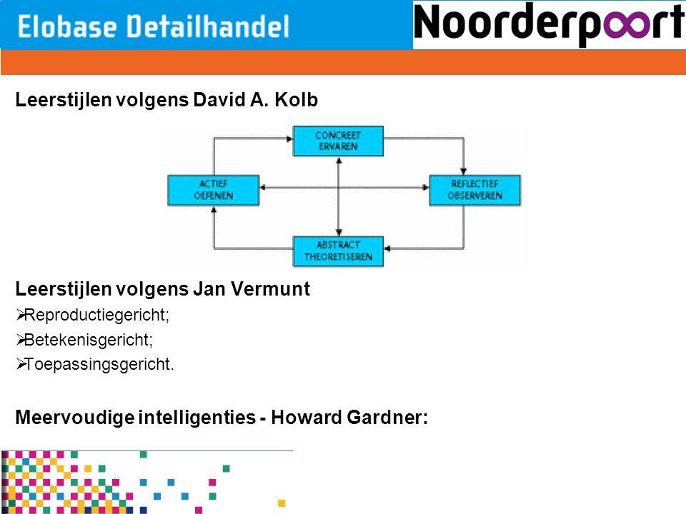 Leerstijlen volgens David A. Kolb Leerstijlen volgens Jan Vermunt  Reproductiegericht;  Betekenisgericht;  Toepassingsgericht. Meervoudige intellig