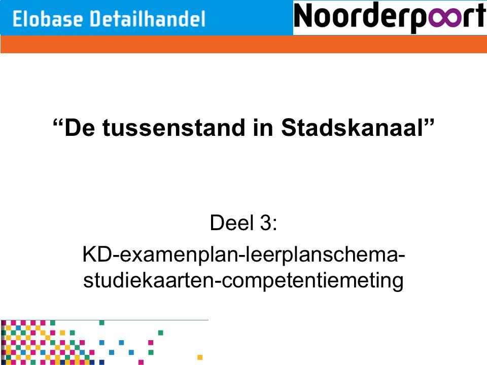 """""""De tussenstand in Stadskanaal"""" Deel 3: KD-examenplan-leerplanschema- studiekaarten-competentiemeting"""