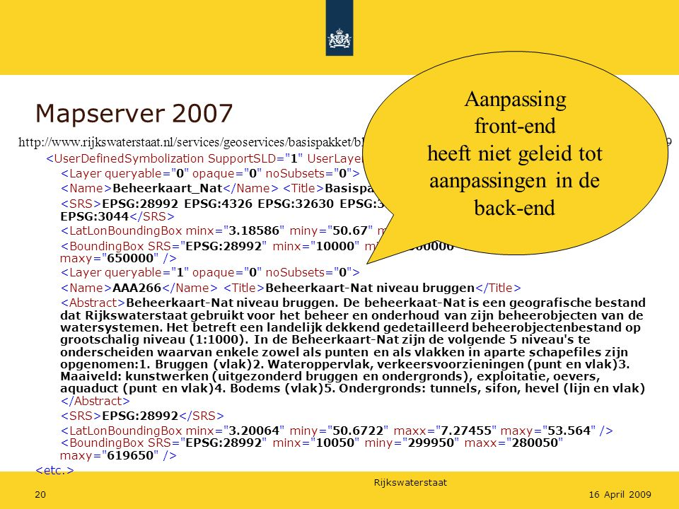 Rijkswaterstaat 2016 April 2009 Mapserver 2007 Beheerkaart_Nat Basispakket Beheerkaart Nat EPSG:28992 EPSG:4326 EPSG:32630 EPSG:32631 EPSG:4937 EPSG:4