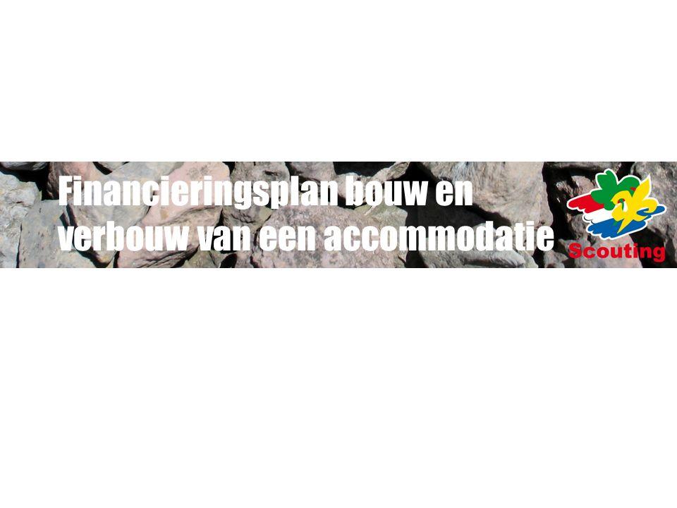 INLEIDING Te gebruiken bij (ver)bouw of andere grote plannen Onderdeel van het Programma van Eisen Nodig voor de besluitvorming op hoofdlijnen Vraagt inspiratie en creativiteit maar ook geduld en doorzettingsvermogen Wordt tijdens de loop van de voorbereidingen steeds concreter en in de besteksfase het meest concreet Tijdens de uitvoering bijhouden Na realisatie te gebruiken bij verantwoording Alle bedragen zijn inclusief btw Zie ook ledensite www.scouting.nl bij accommodaties en materiaalwww.scouting.nl