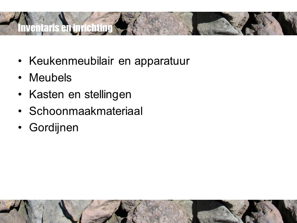 Inventaris en inrichting Keukenmeubilair en apparatuur Meubels Kasten en stellingen Schoonmaakmateriaal Gordijnen