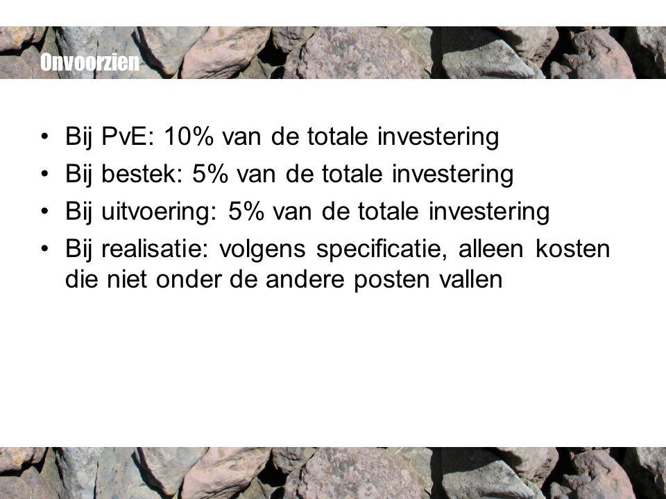 Onvoorzien Bij PvE: 10% van de totale investering Bij bestek: 5% van de totale investering Bij uitvoering: 5% van de totale investering Bij realisatie: volgens specificatie, alleen kosten die niet onder de andere posten vallen