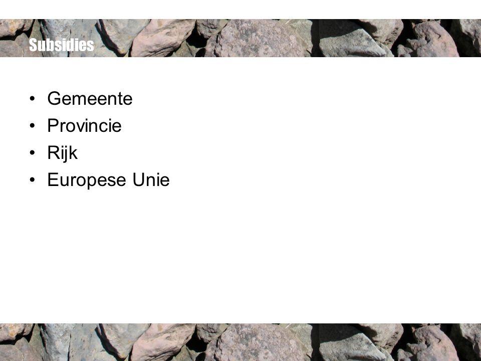 Subsidies Gemeente Provincie Rijk Europese Unie