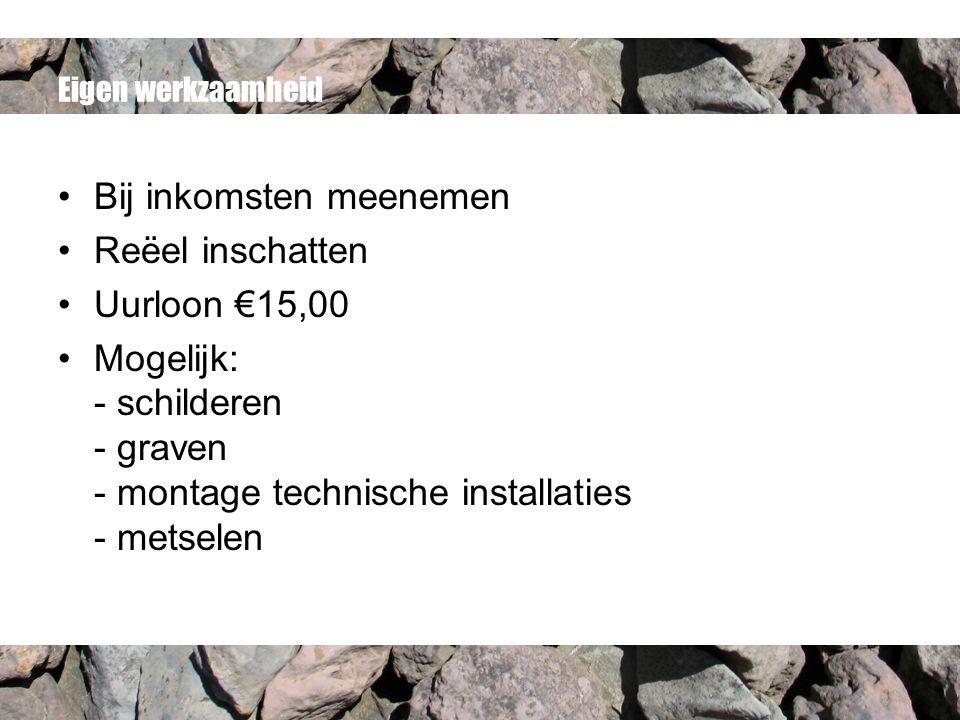 Eigen werkzaamheid Bij inkomsten meenemen Reëel inschatten Uurloon €15,00 Mogelijk: - schilderen - graven - montage technische installaties - metselen