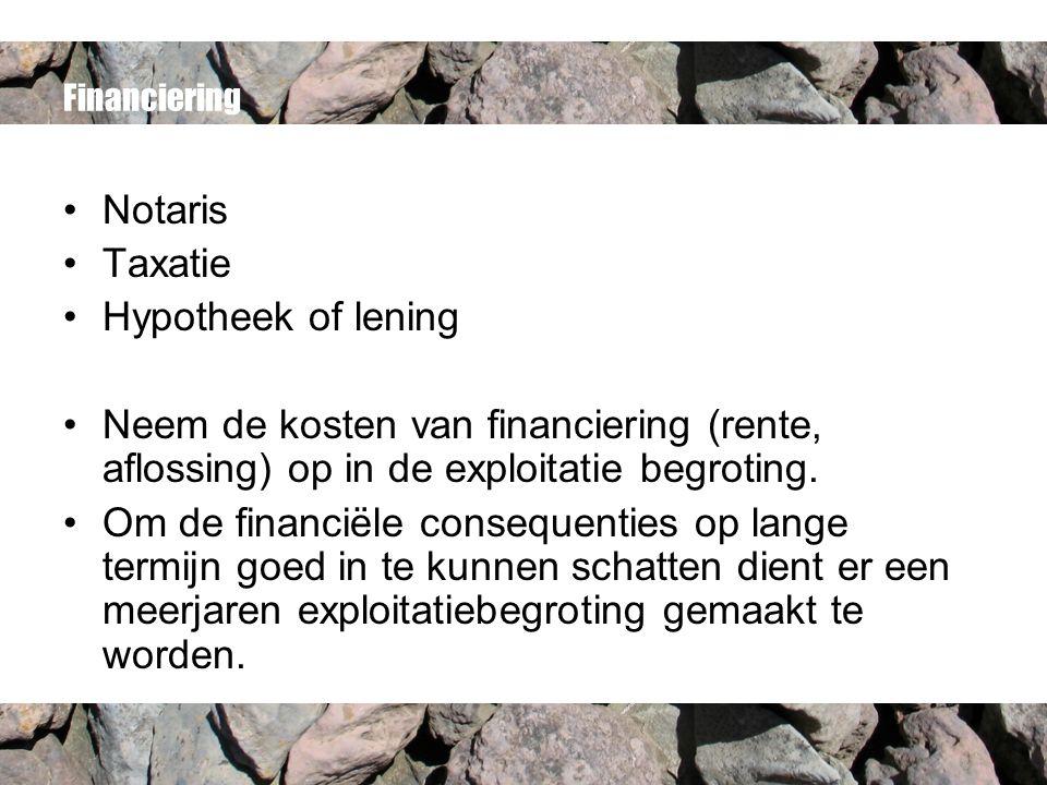 Financiering Notaris Taxatie Hypotheek of lening Neem de kosten van financiering (rente, aflossing) op in de exploitatie begroting.