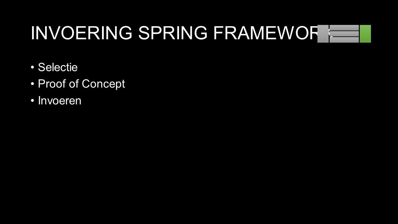 INVOERING SPRING FRAMEWORK Selectie Proof of Concept Invoeren