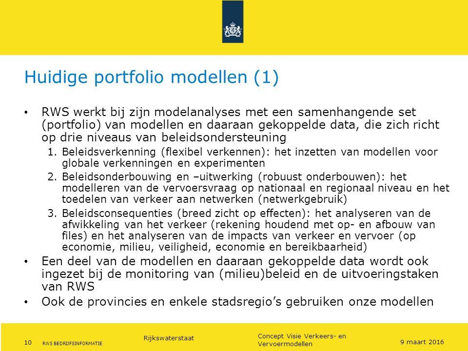 Rijkswaterstaat 10 Concept Visie Verkeers- en Vervoermodellen RWS BEDRIJFSINFORMATIE Huidige portfolio modellen (1) RWS werkt bij zijn modelanalyses m