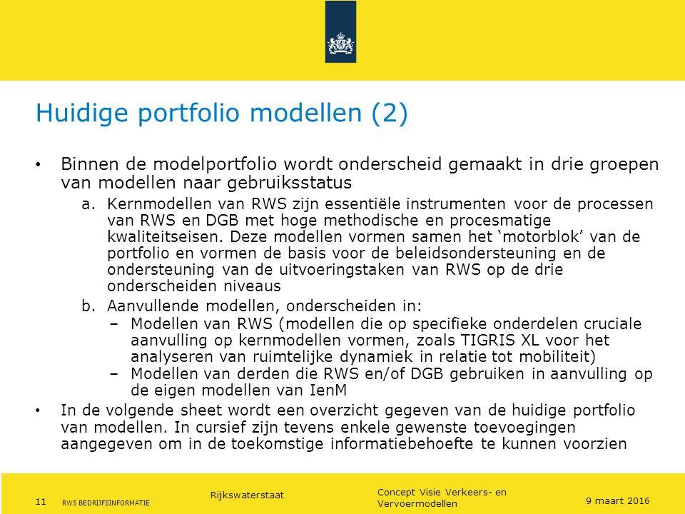 Rijkswaterstaat 11 Concept Visie Verkeers- en Vervoermodellen RWS BEDRIJFSINFORMATIE Huidige portfolio modellen (2) Binnen de modelportfolio wordt ond