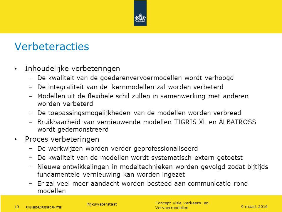 Rijkswaterstaat 13 Concept Visie Verkeers- en Vervoermodellen RWS BEDRIJFSINFORMATIE Verbeteracties Inhoudelijke verbeteringen –De kwaliteit van de go