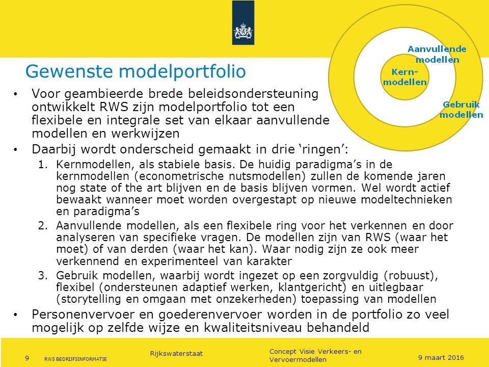 Rijkswaterstaat 9 Concept Visie Verkeers- en Vervoermodellen RWS BEDRIJFSINFORMATIE Gewenste modelportfolio Voor geambieerde brede beleidsondersteunin