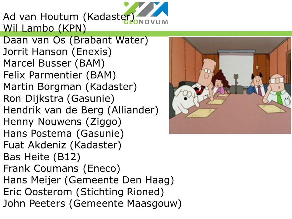 Ad van Houtum (Kadaster) Wil Lambo (KPN) Daan van Os (Brabant Water) Jorrit Hanson (Enexis) Marcel Busser (BAM) Felix Parmentier (BAM) Martin Borgman (Kadaster) Ron Dijkstra (Gasunie) Hendrik van de Berg (Alliander) Henny Nouwens (Ziggo) Hans Postema (Gasunie) Fuat Akdeniz (Kadaster) Bas Heite (B12) Frank Coumans (Eneco) Hans Meijer (Gemeente Den Haag) Eric Oosterom (Stichting Rioned) John Peeters (Gemeente Maasgouw)