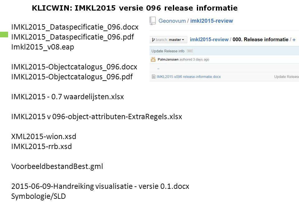 IMKL2015_Dataspecificatie_096.docx IMKL2015_Dataspecificatie_096.pdf Imkl2015_v08.eap IMKL2015-Objectcatalogus_096.docx IMKL2015-Objectcatalogus_096.pdf IMKL2015 - 0.7 waardelijsten.xlsx IMKL2015 v 096-object-attributen-ExtraRegels.xlsx XML2015-wion.xsd IMKL2015-rrb.xsd VoorbeeldbestandBest.gml 2015-06-09-Handreiking visualisatie - versie 0.1.docx Symbologie/SLD