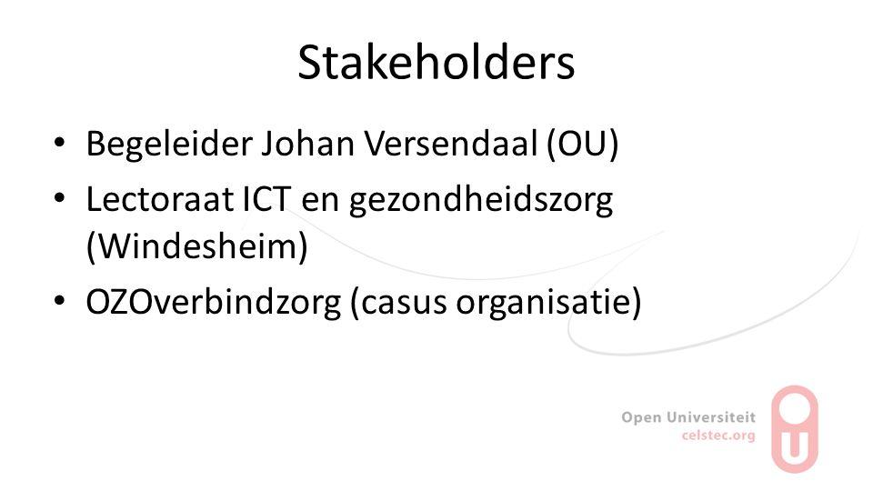 Stakeholders Begeleider Johan Versendaal (OU) Lectoraat ICT en gezondheidszorg (Windesheim) OZOverbindzorg (casus organisatie)