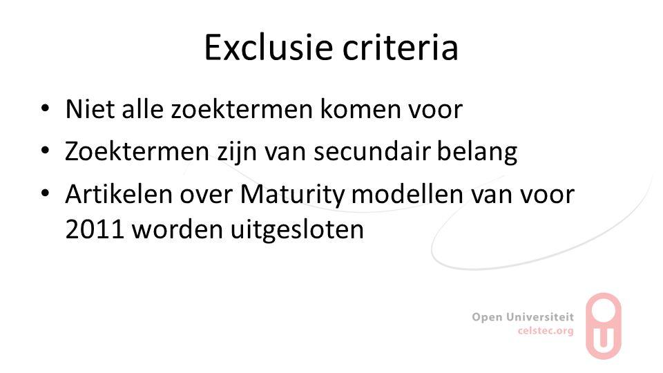 Exclusie criteria Niet alle zoektermen komen voor Zoektermen zijn van secundair belang Artikelen over Maturity modellen van voor 2011 worden uitgeslot