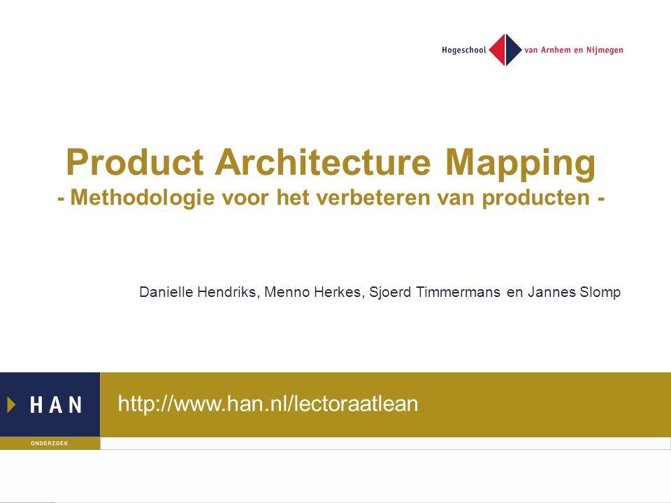 http://www.han.nl/lectoraatlean Product Architecture Mapping - Methodologie voor het verbeteren van producten - Danielle Hendriks, Menno Herkes, Sjoerd Timmermans en Jannes Slomp