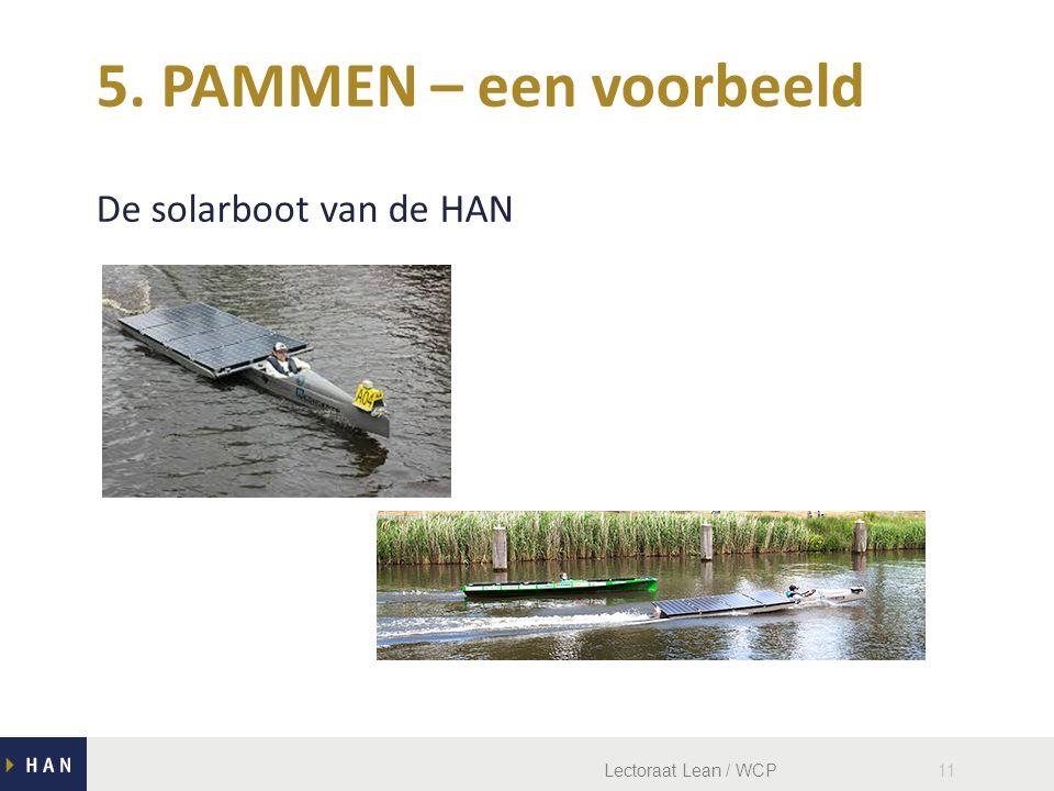 Lectoraat Lean / WCP11 De solarboot van de HAN 5. PAMMEN – een voorbeeld
