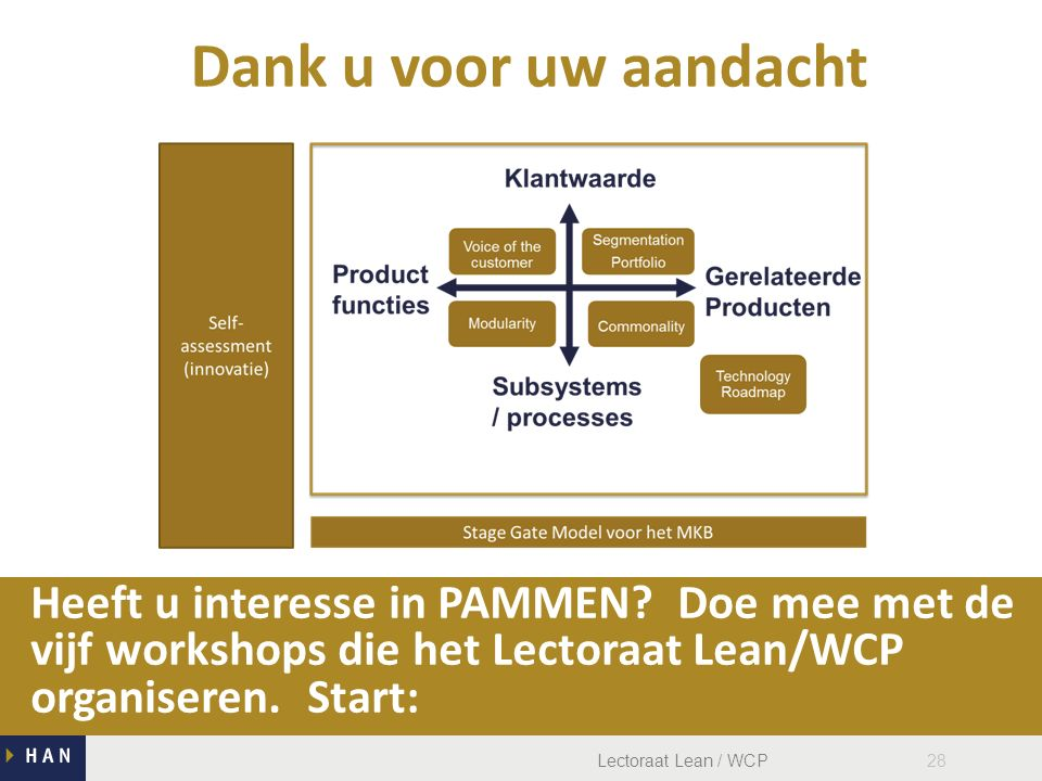 Lectoraat Lean / WCP28 Heeft u interesse in PAMMEN.