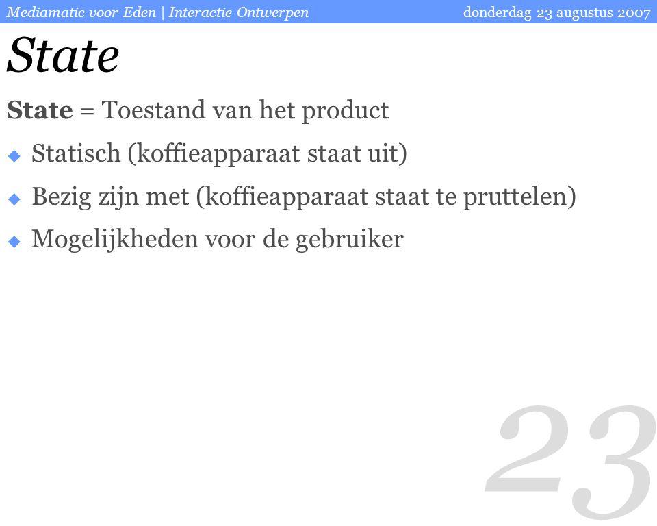 23 donderdag 23 augustus 2007Mediamatic voor Eden | Interactie Ontwerpen State State = Toestand van het product  Statisch (koffieapparaat staat uit)  Bezig zijn met (koffieapparaat staat te pruttelen)  Mogelijkheden voor de gebruiker