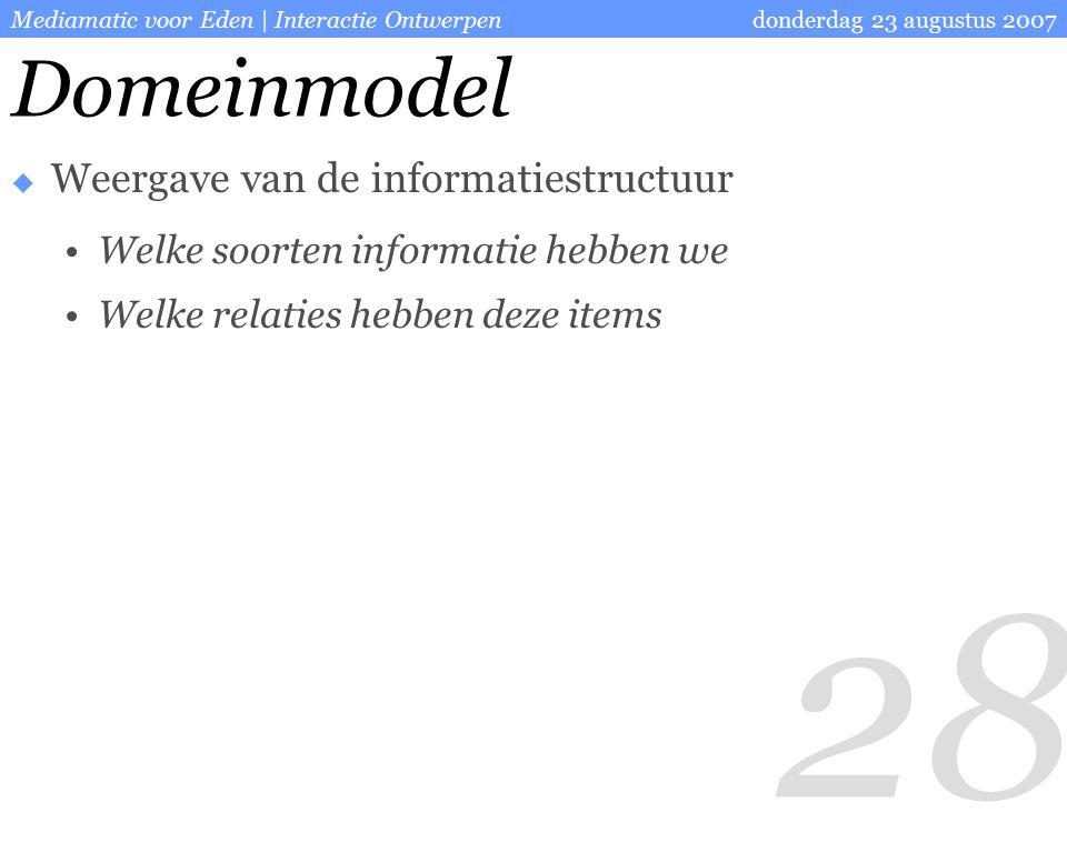 28 donderdag 23 augustus 2007Mediamatic voor Eden | Interactie Ontwerpen Domeinmodel  Weergave van de informatiestructuur Welke soorten informatie hebben we Welke relaties hebben deze items