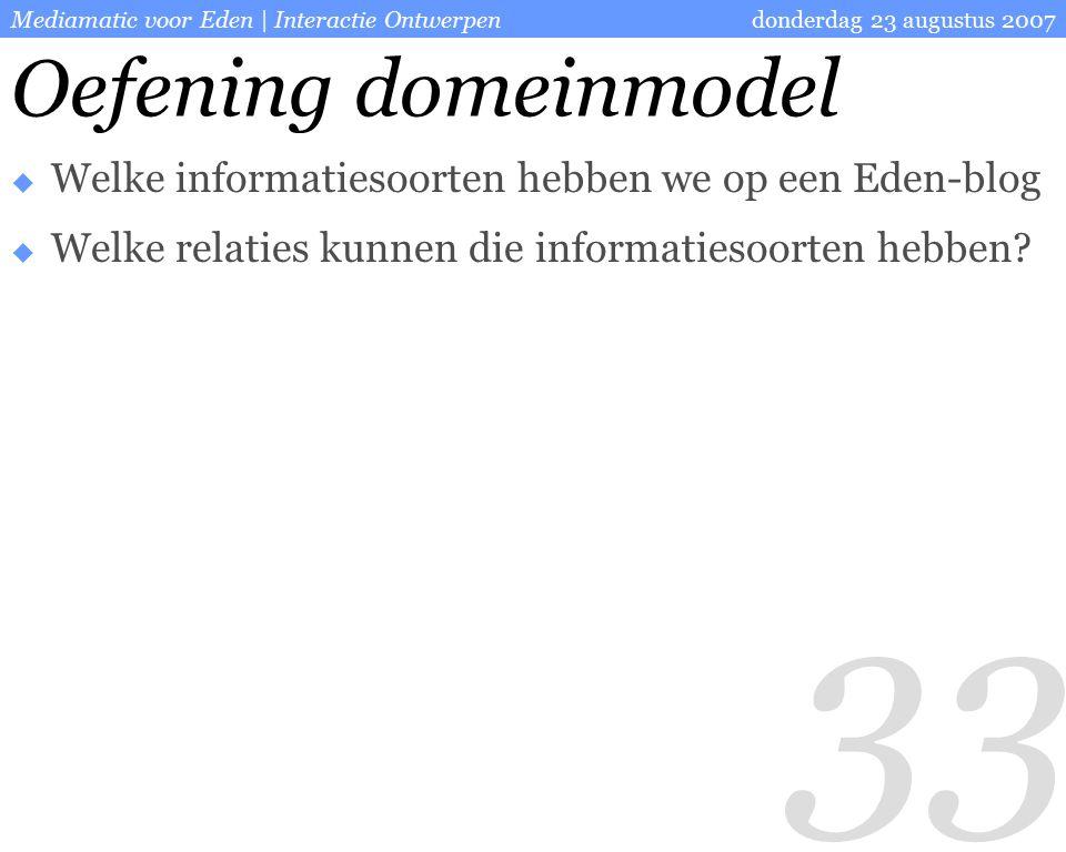 33 donderdag 23 augustus 2007Mediamatic voor Eden | Interactie Ontwerpen Oefening domeinmodel  Welke informatiesoorten hebben we op een Eden-blog  Welke relaties kunnen die informatiesoorten hebben